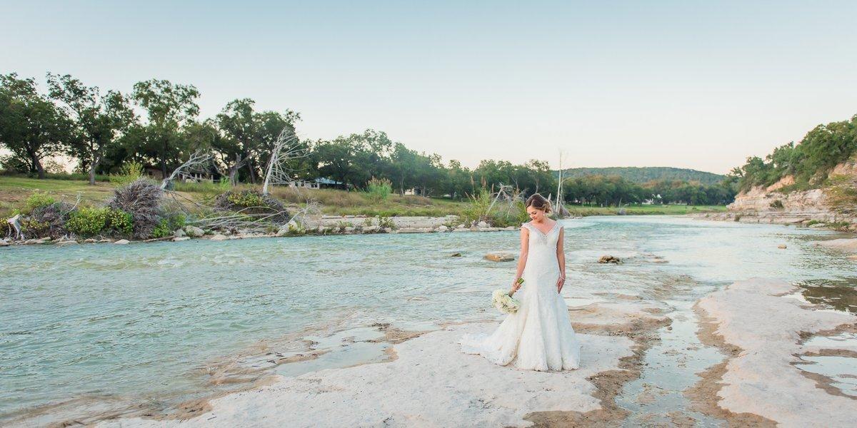 Montesino Ranch Wedding Bride at Blanco River