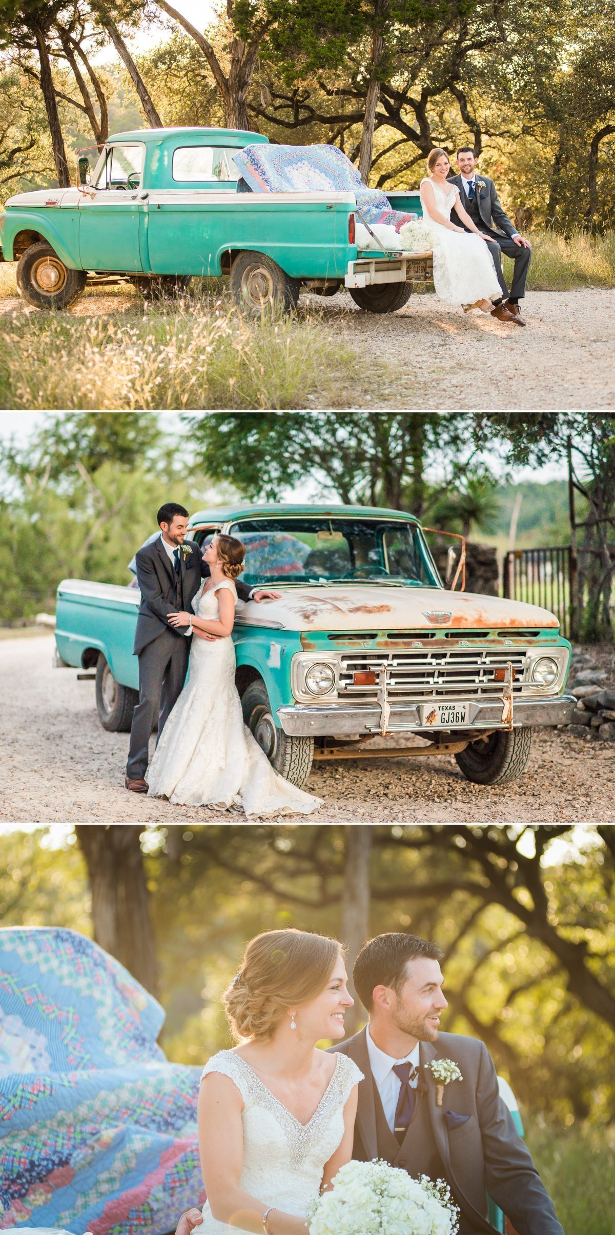 Montesino Ranch Wedding Bride and Groom with vintage blue truck