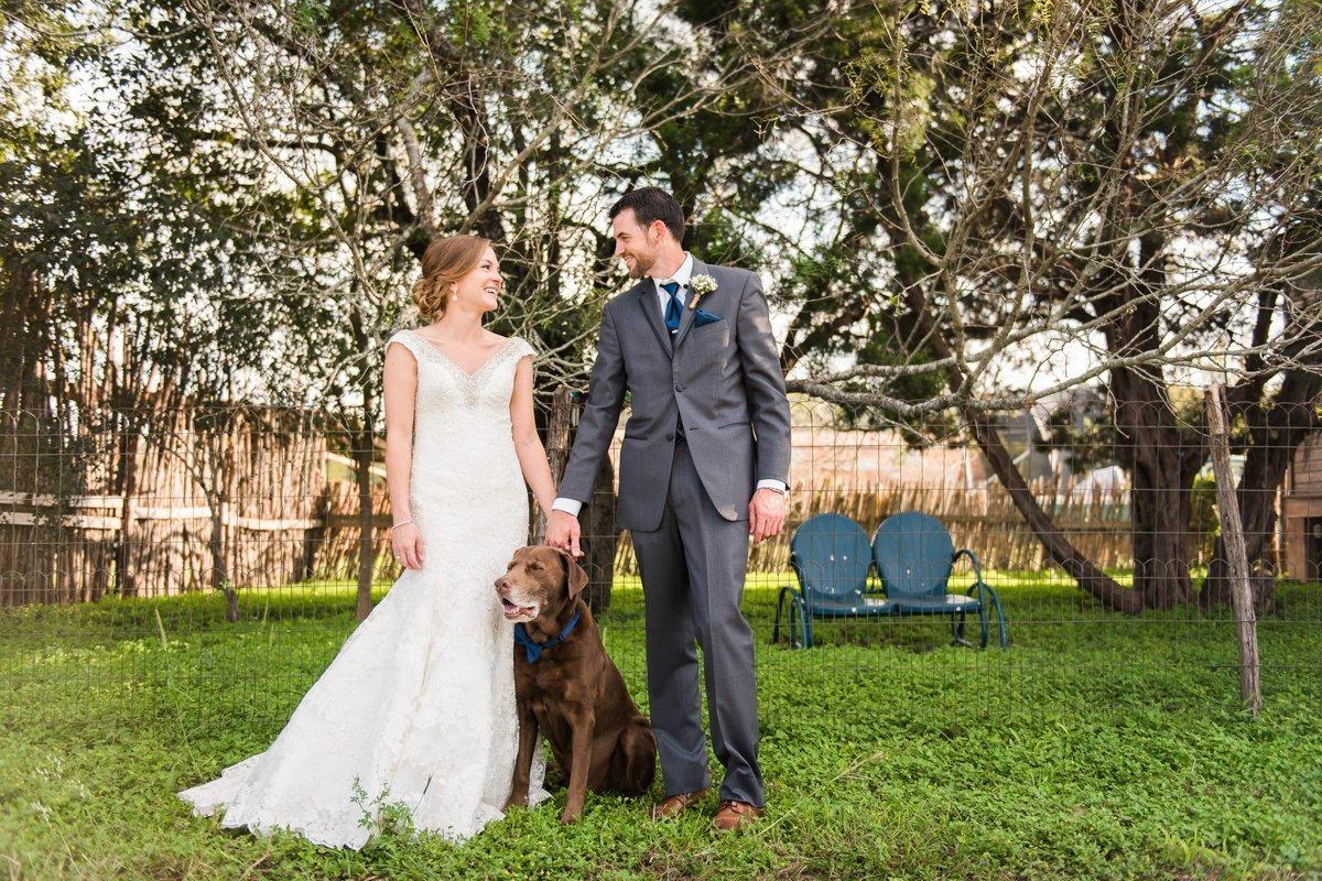 Montesino Ranch Wedding Bride and Groom with Dog