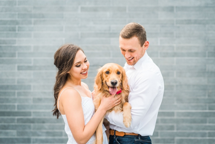 Houston Engagement and Wedding Photography with cute dogs