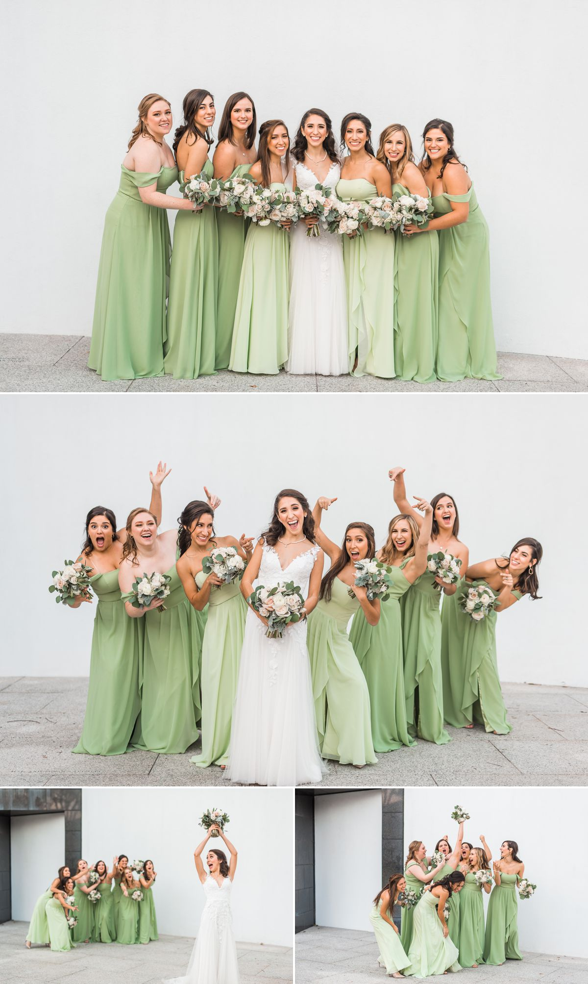 Bride and Bridesmaids Chapel St. Basil & Station 3 Wedding in Houston