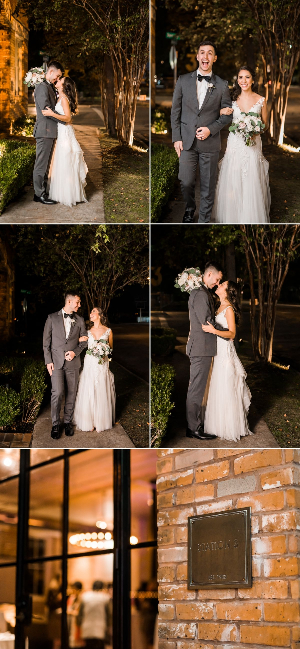 Station 3 Wedding - Bride and Groom Night Portraits - Houston Wedding Photographers