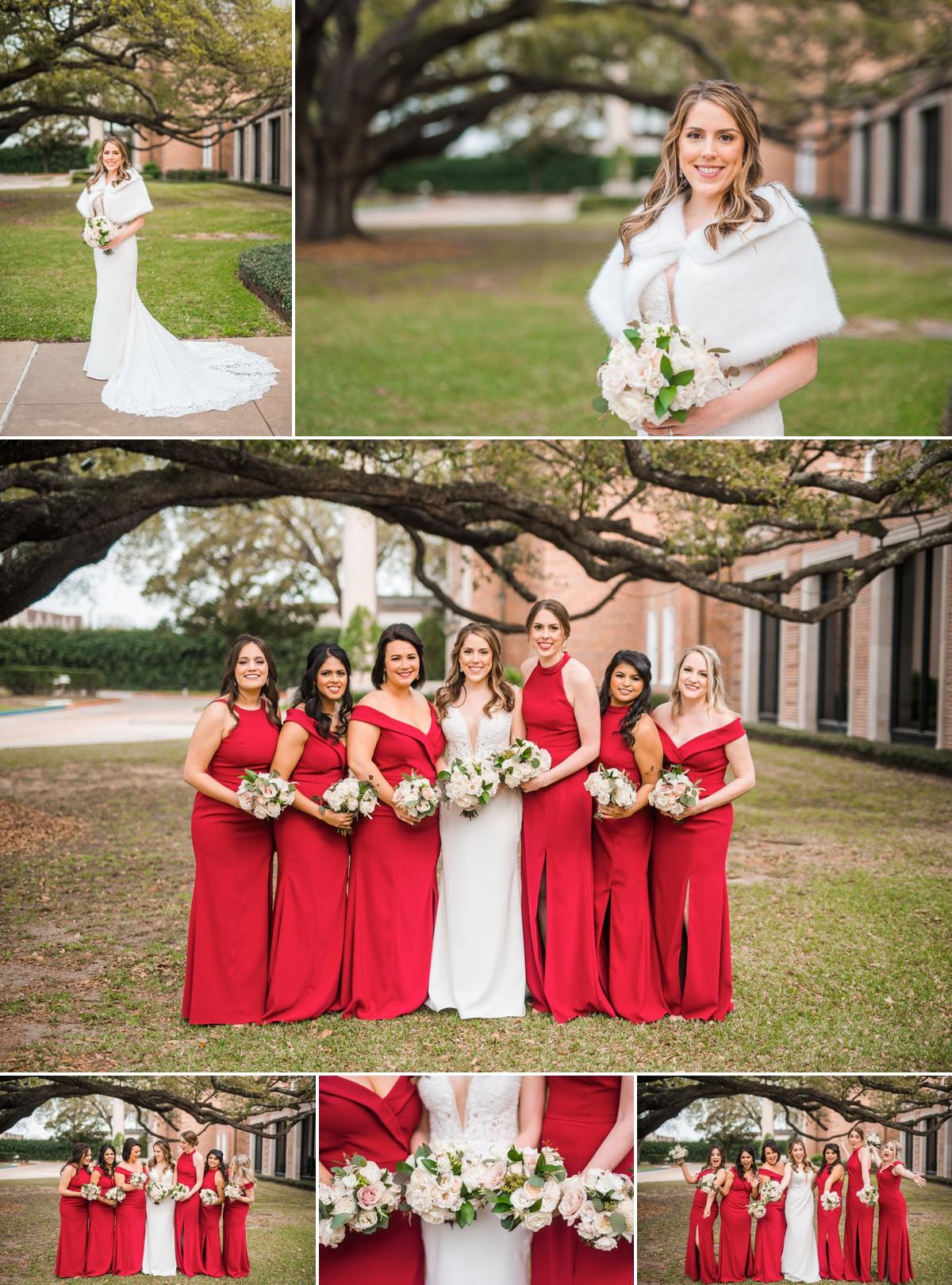 Bride and Bridesmaids at St. Luke's United Methodist Church in Houston