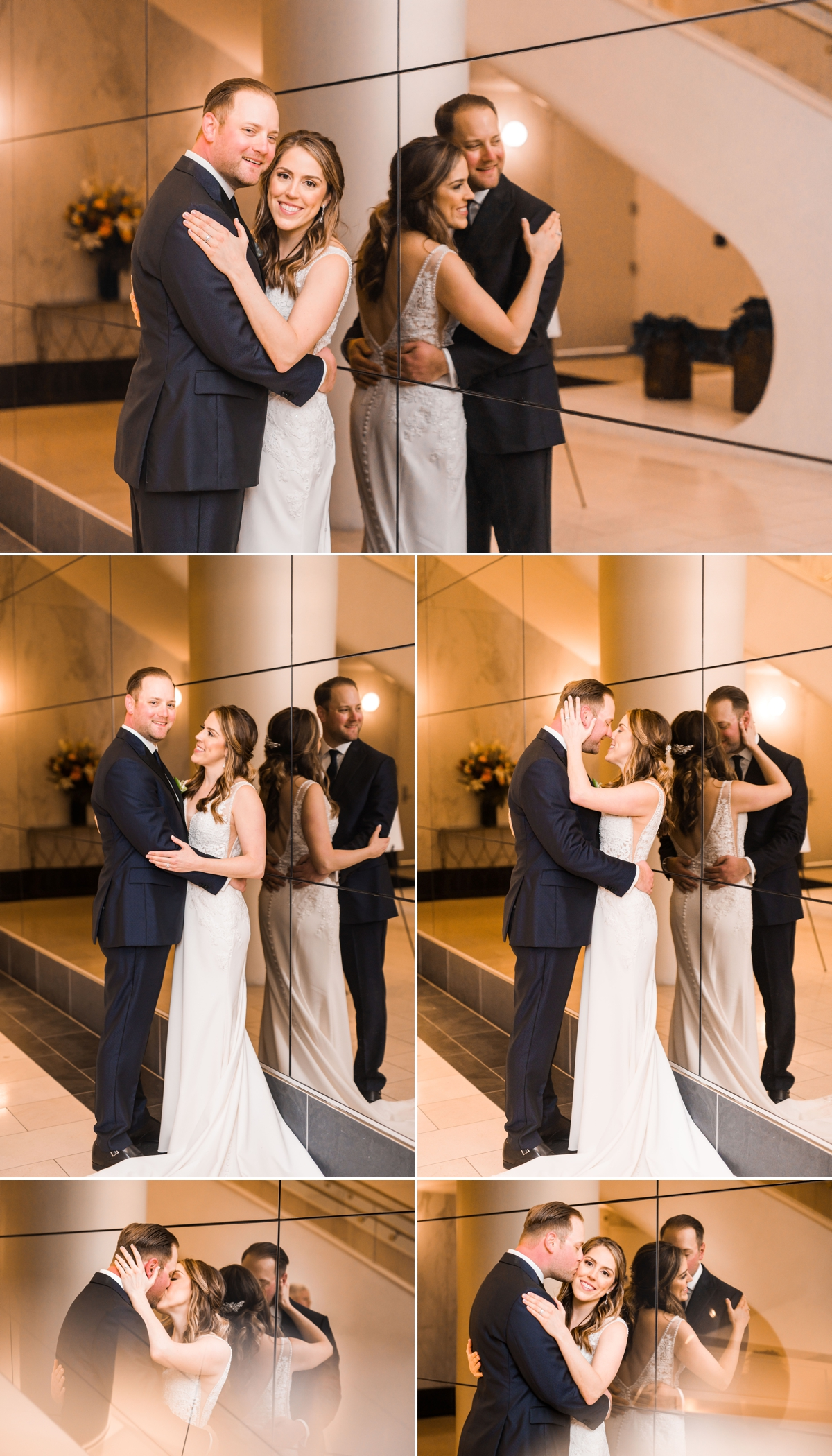 Chic Houston Hotel Wedding Portraits with the Bride and Groom using a mirrored wall