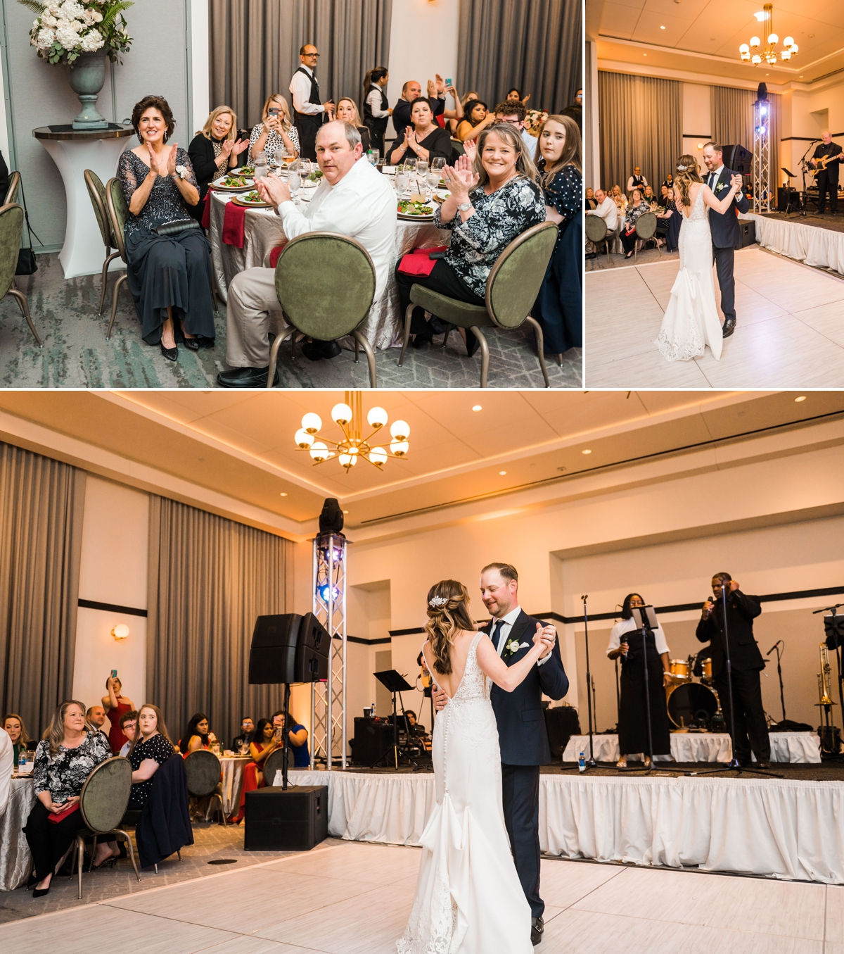Bride and Groom entrance and First Dance at Houston Hotel Wedding