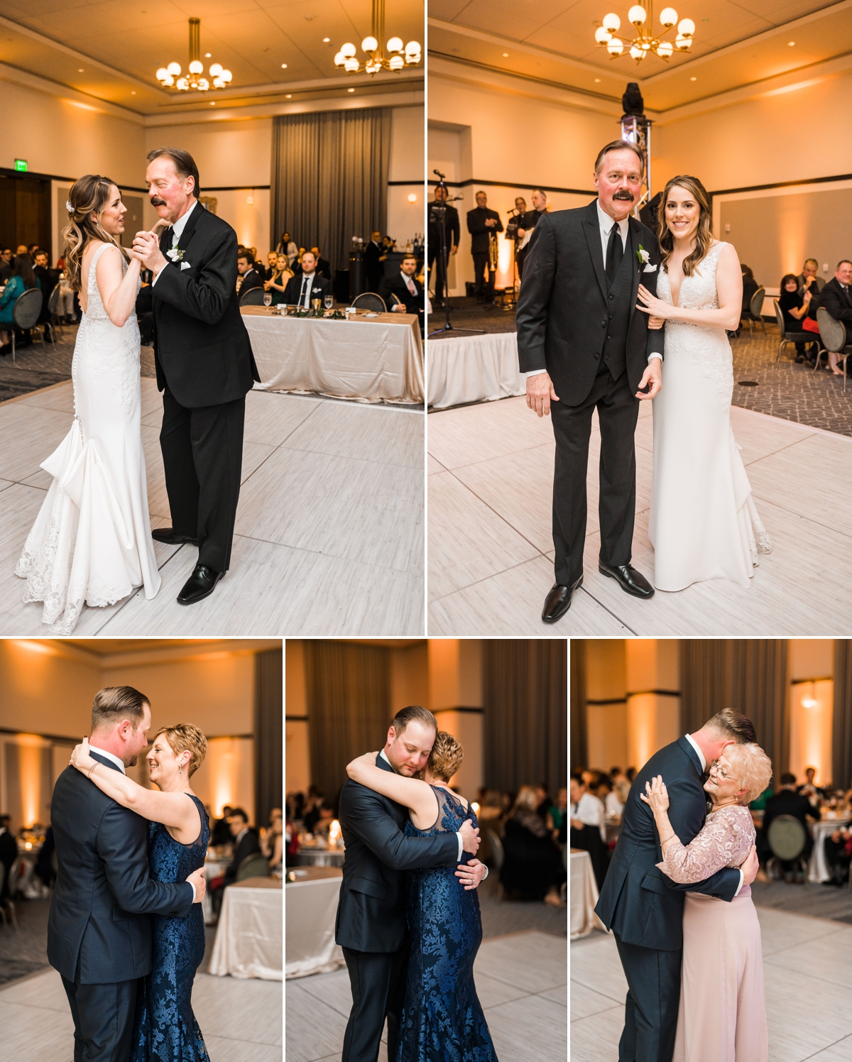Special First Dances with parents and grandparents at Houston Hotel Wedding
