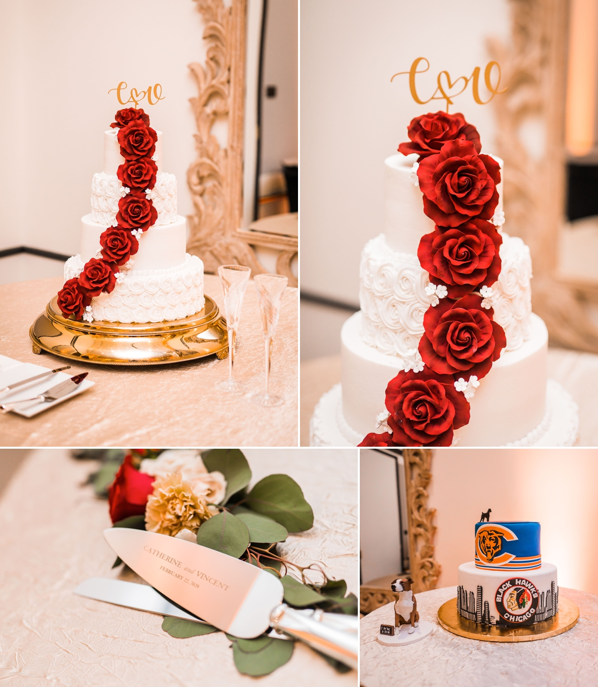 Houston Hotel Wedding Cake with Red Sugar Roses