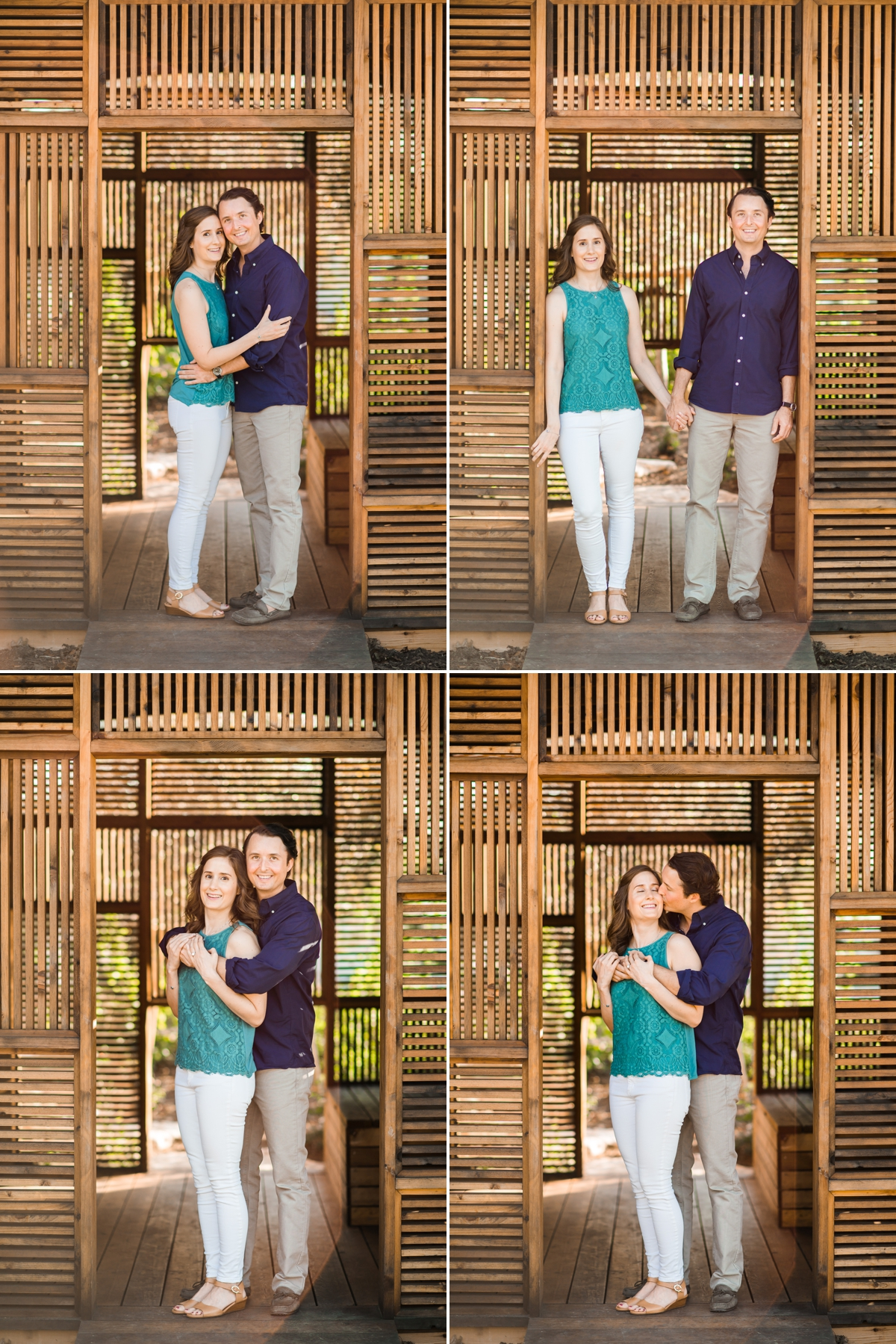 Couple posing in wooden structure at Houston Botanic Garden