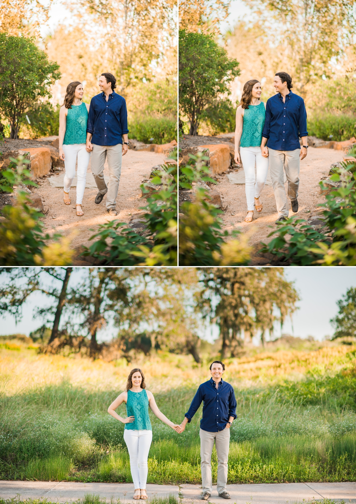 Couple walking in the gardens and fields at the Houston Botanic Garden