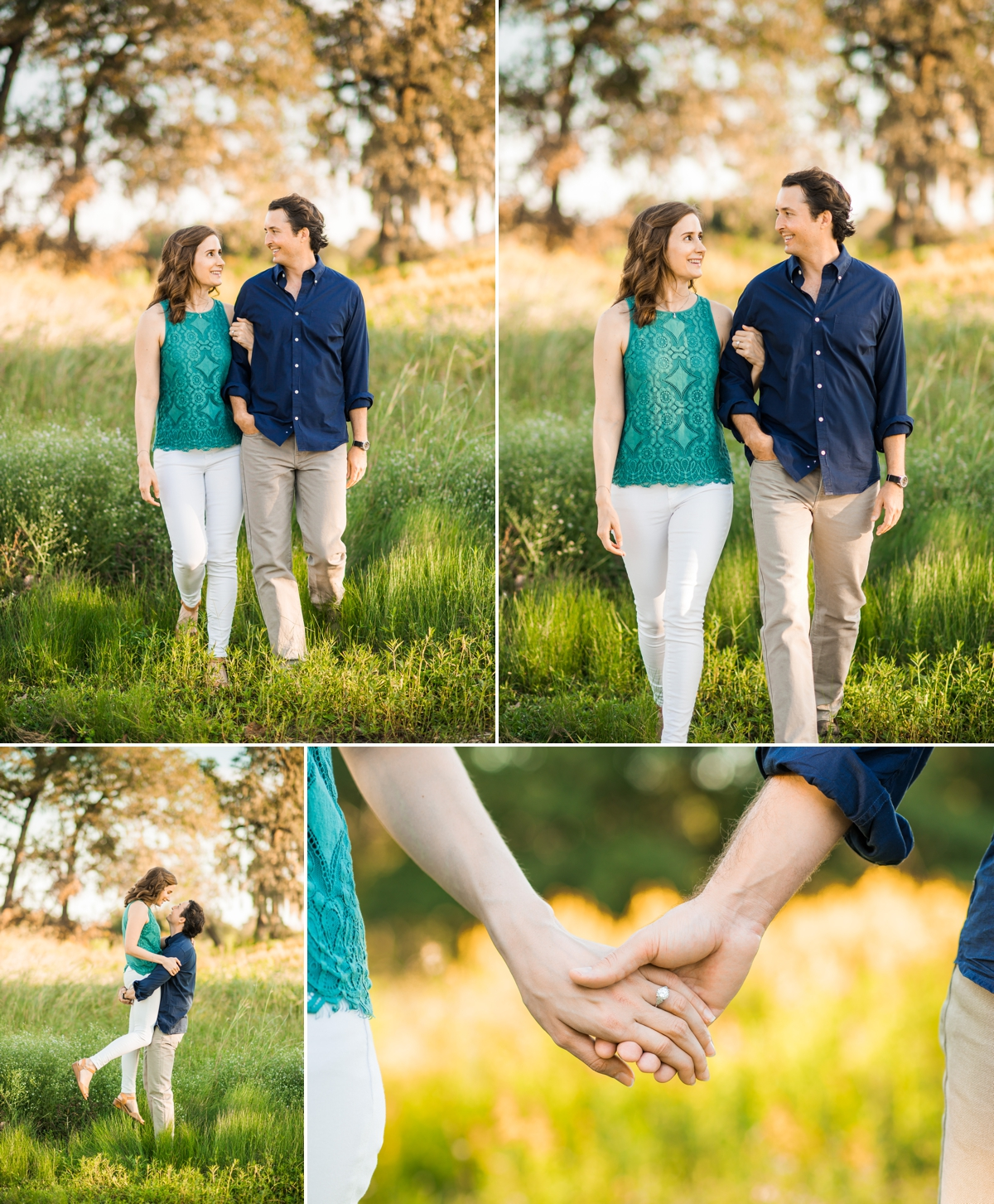 Sunset portraits in the field at Houston Botanic Garden Engagement Session