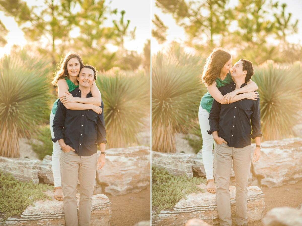 Couple exploring a desert garden at Houston Botanic Garden at Houston Engagement Session