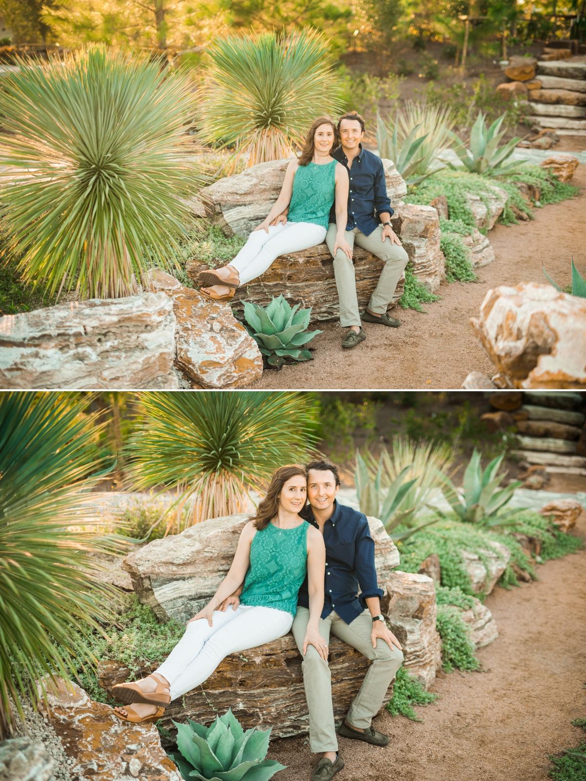 Couple sitting on large rocks in desert garden at Houston Botanic Garden