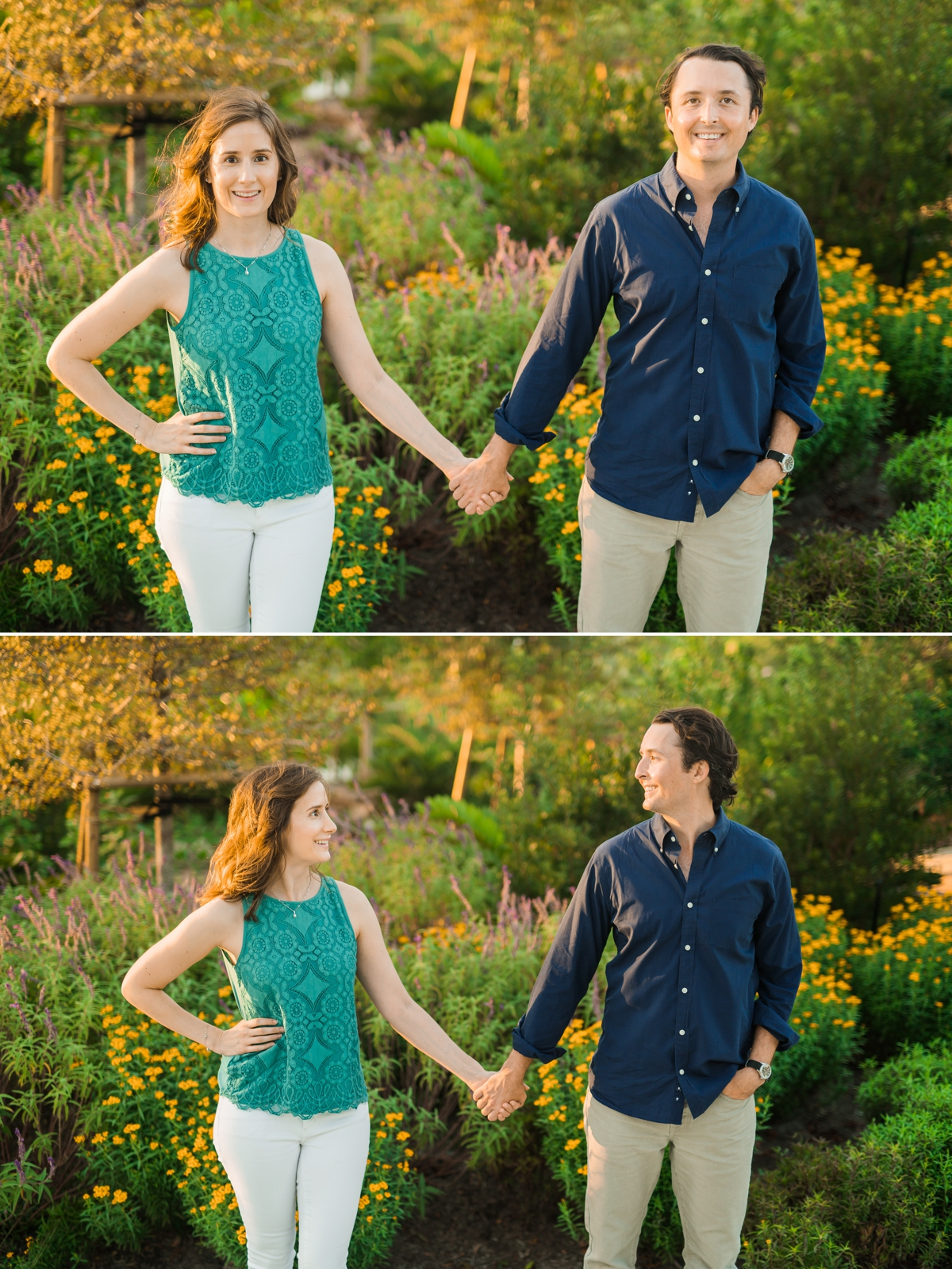 Engaged couple holding hands standing in front of beautiful flowers at the Houston Botanic Gardens