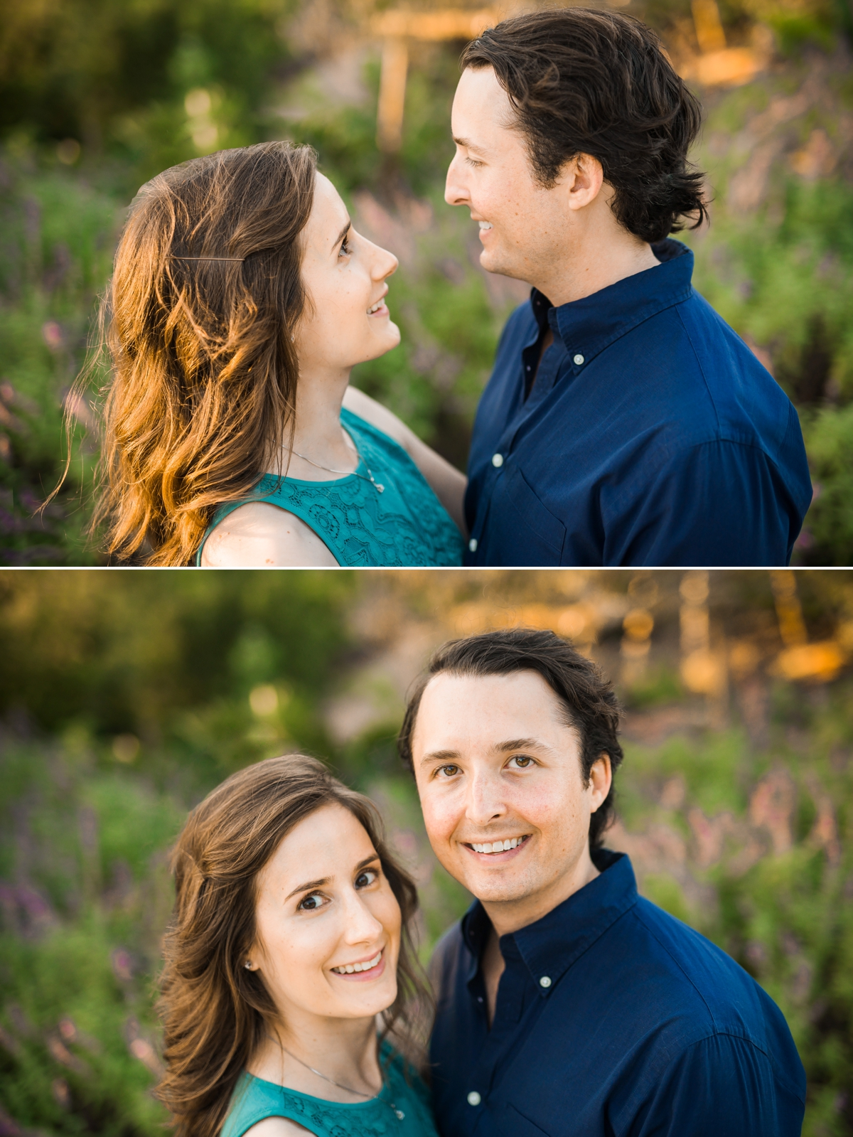 Engaged Couple looking at each other and the camera during engagement session at the Houston Botanic Gardens