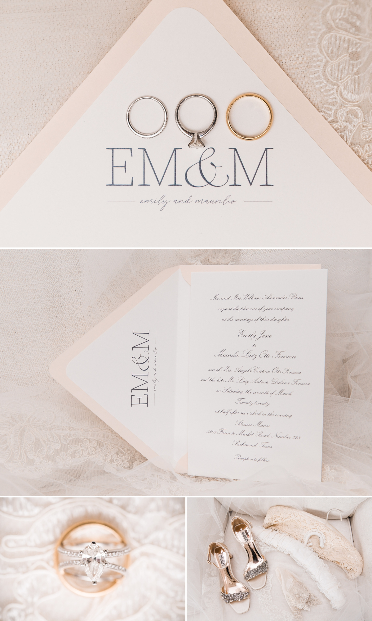 Blush and White Wedding Invitation and Heirloom wedding details