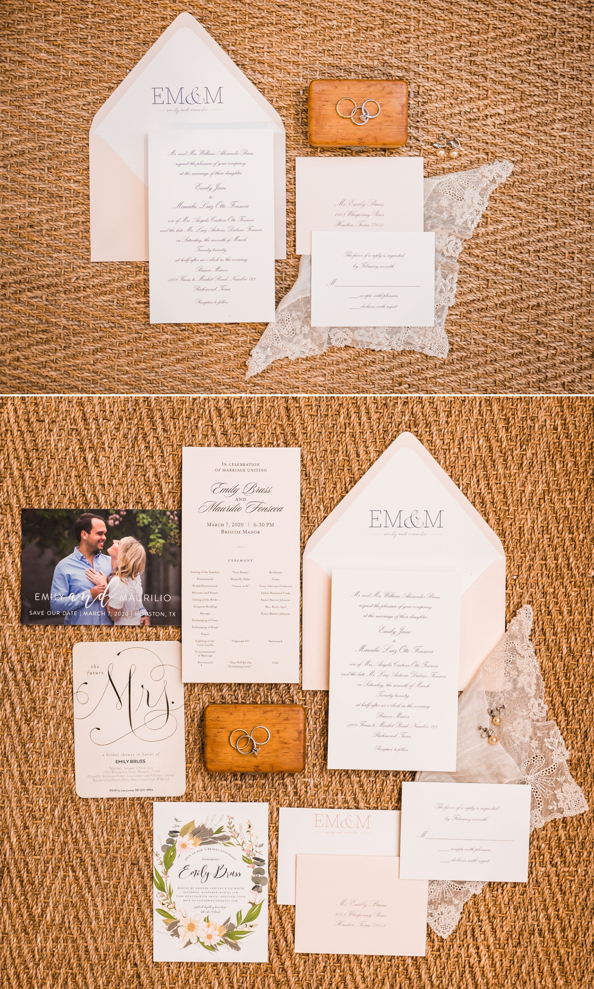 Wedding Invitation Suite Blush and Cream on a Jute Background