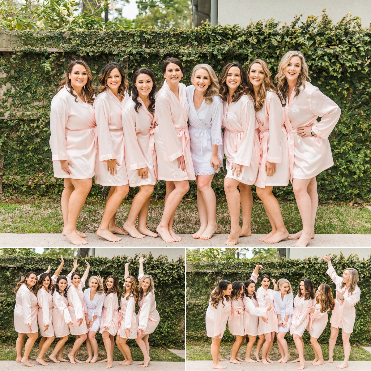Bride and Bridesmaids in Silk Blush robes