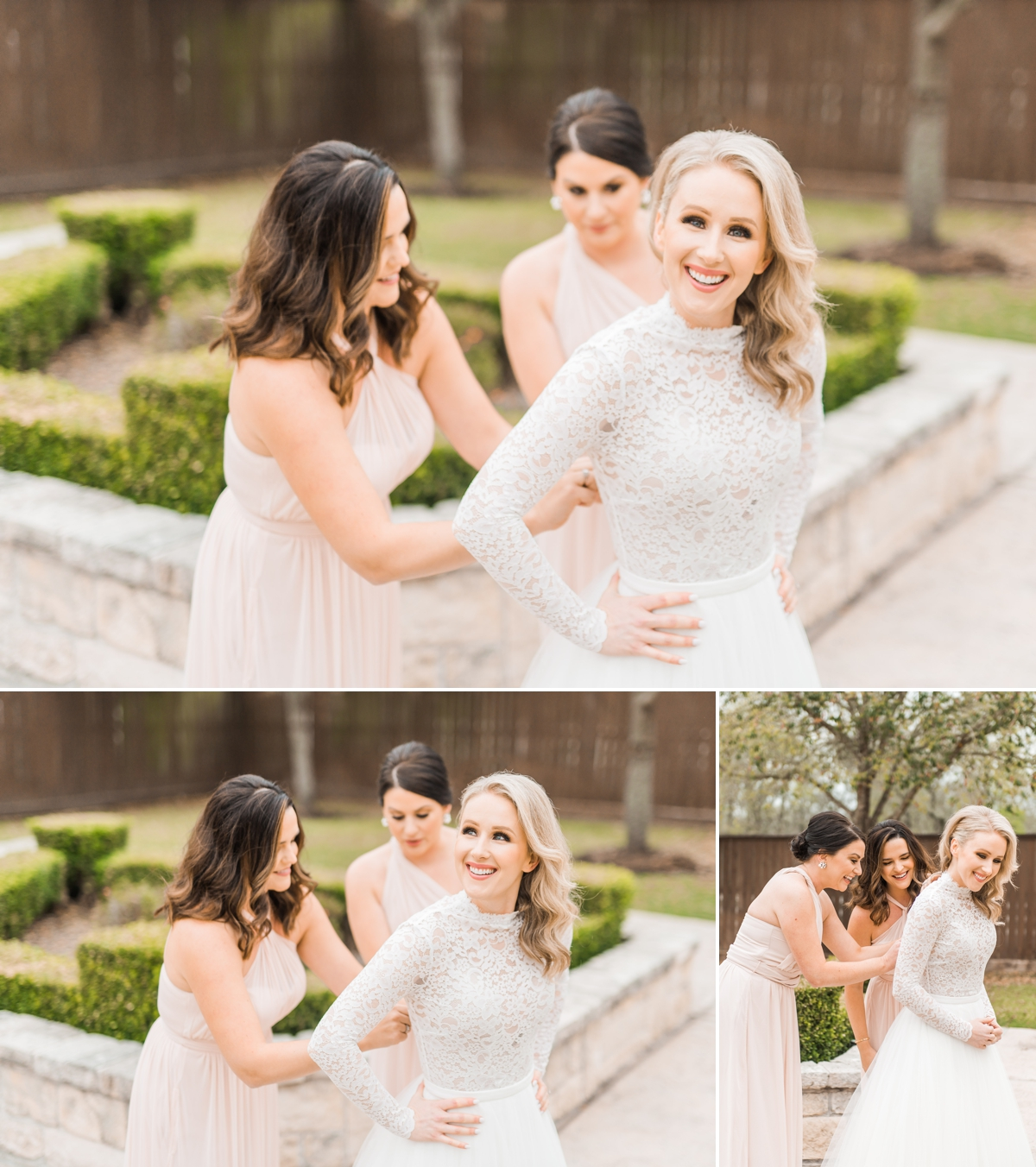 Bride putting on lace wedding dress at Briscoe Manor