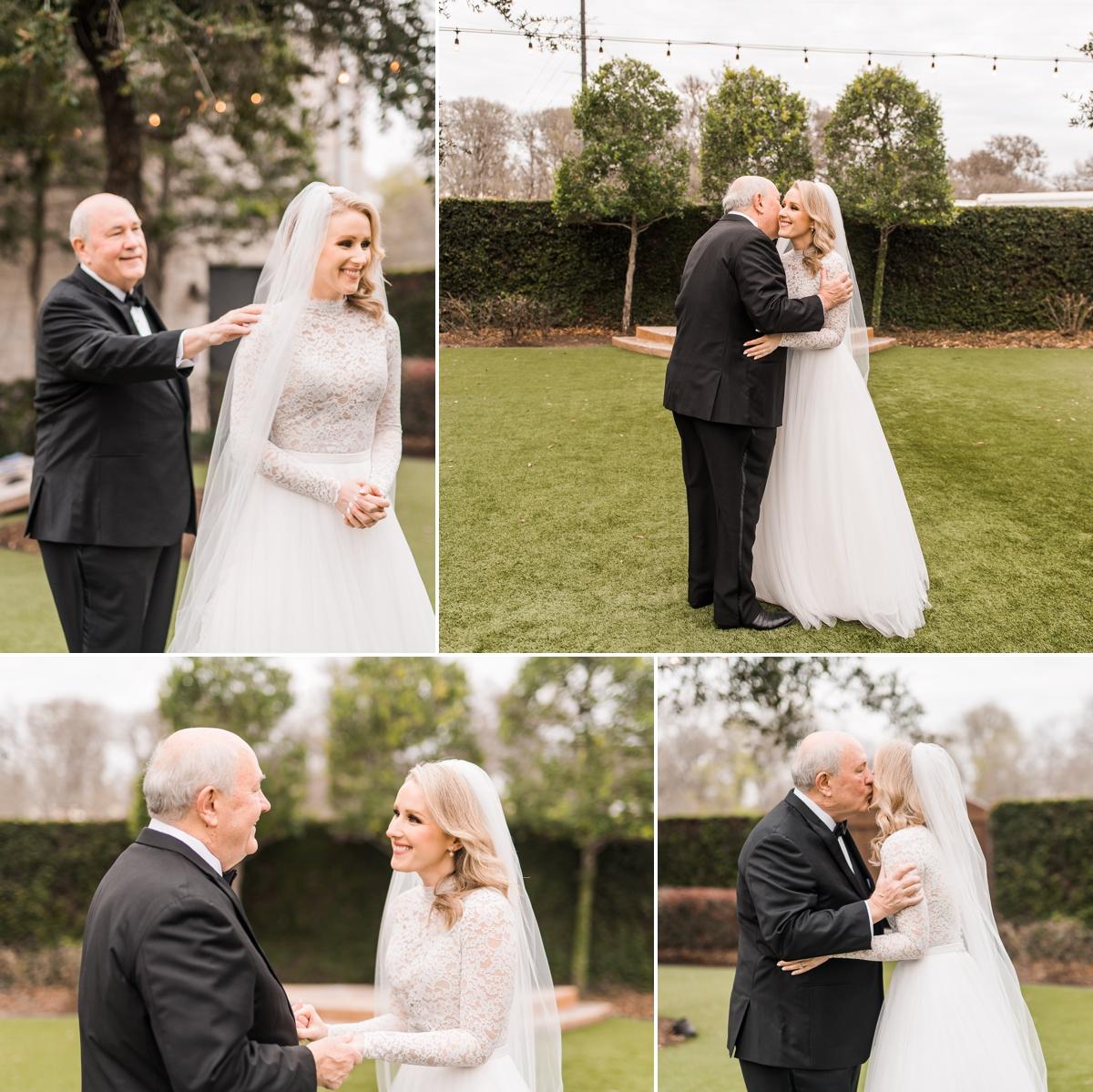 Dad's first look with bride at Briscoe Manor Wedding