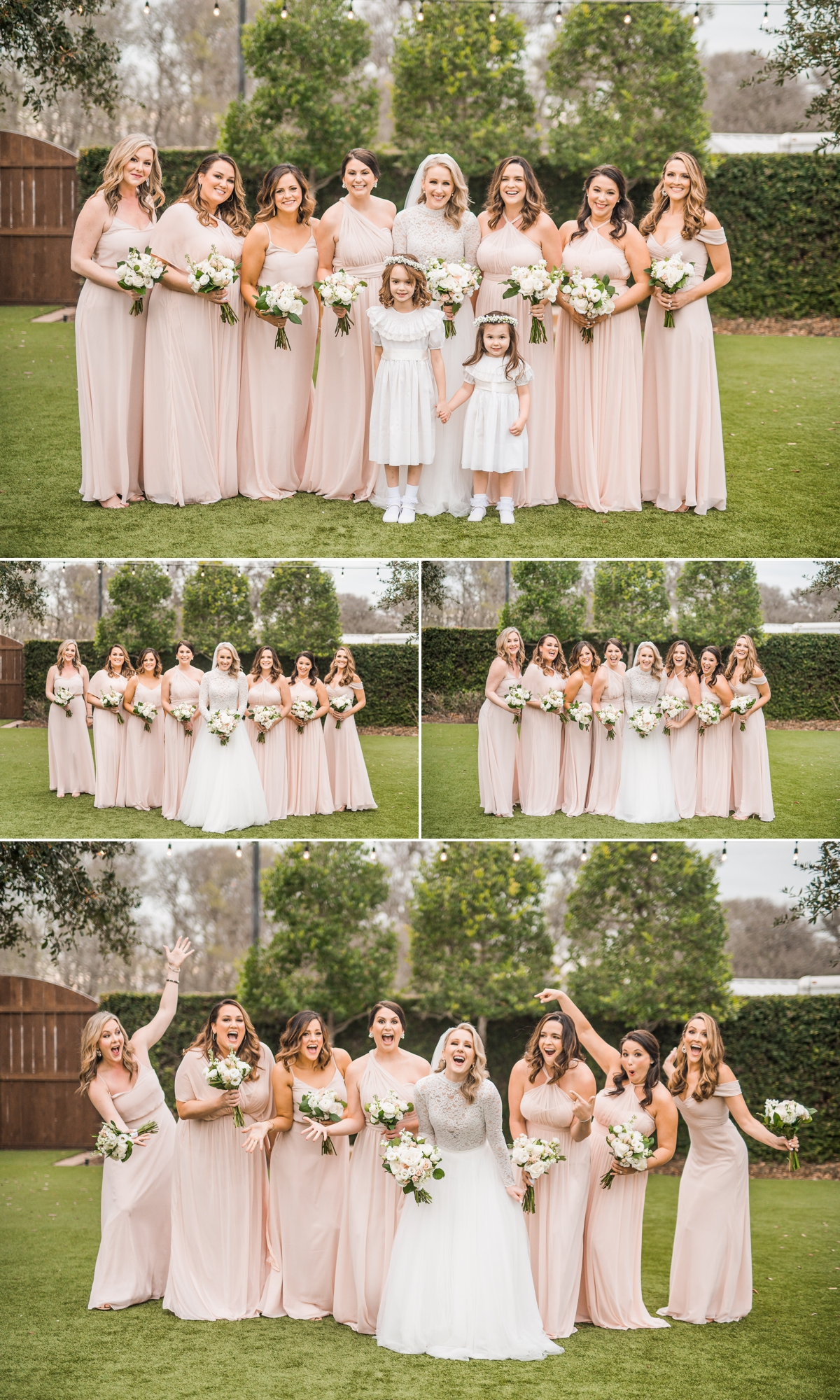 Bride with Bridesmaids in Blush pink dresses at Briscoe Manor Wedding