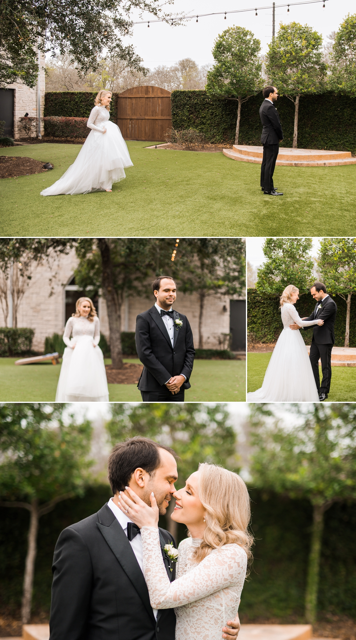 First look between bride and groom at Briscoe Manor