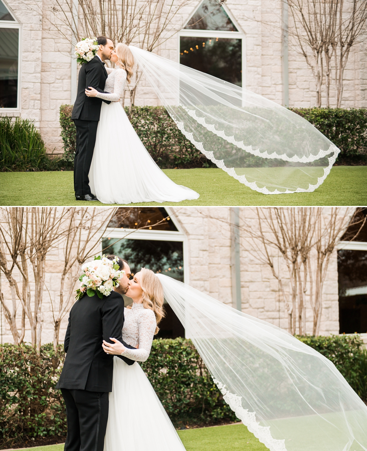 Romantic Bride and Groom Wedding Portraits with Bride's veil flying in the wind at Briscoe Manor Wedding