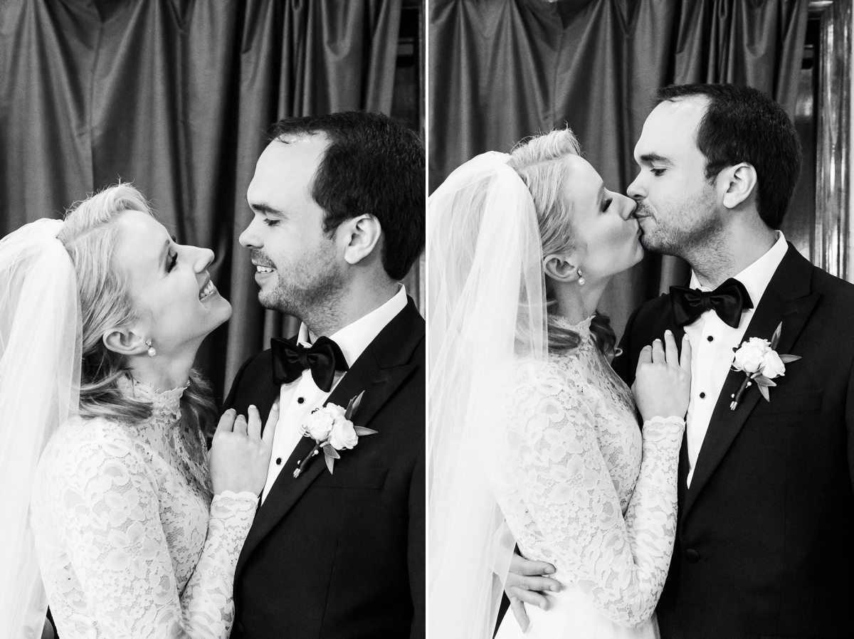 Candid black and white photos of bride and groom after wedding ceremony at Briscoe Manor