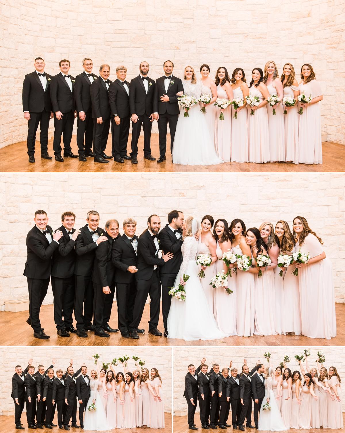Briscoe Manor wedding party black tie and blush pink bridesmaid dresses