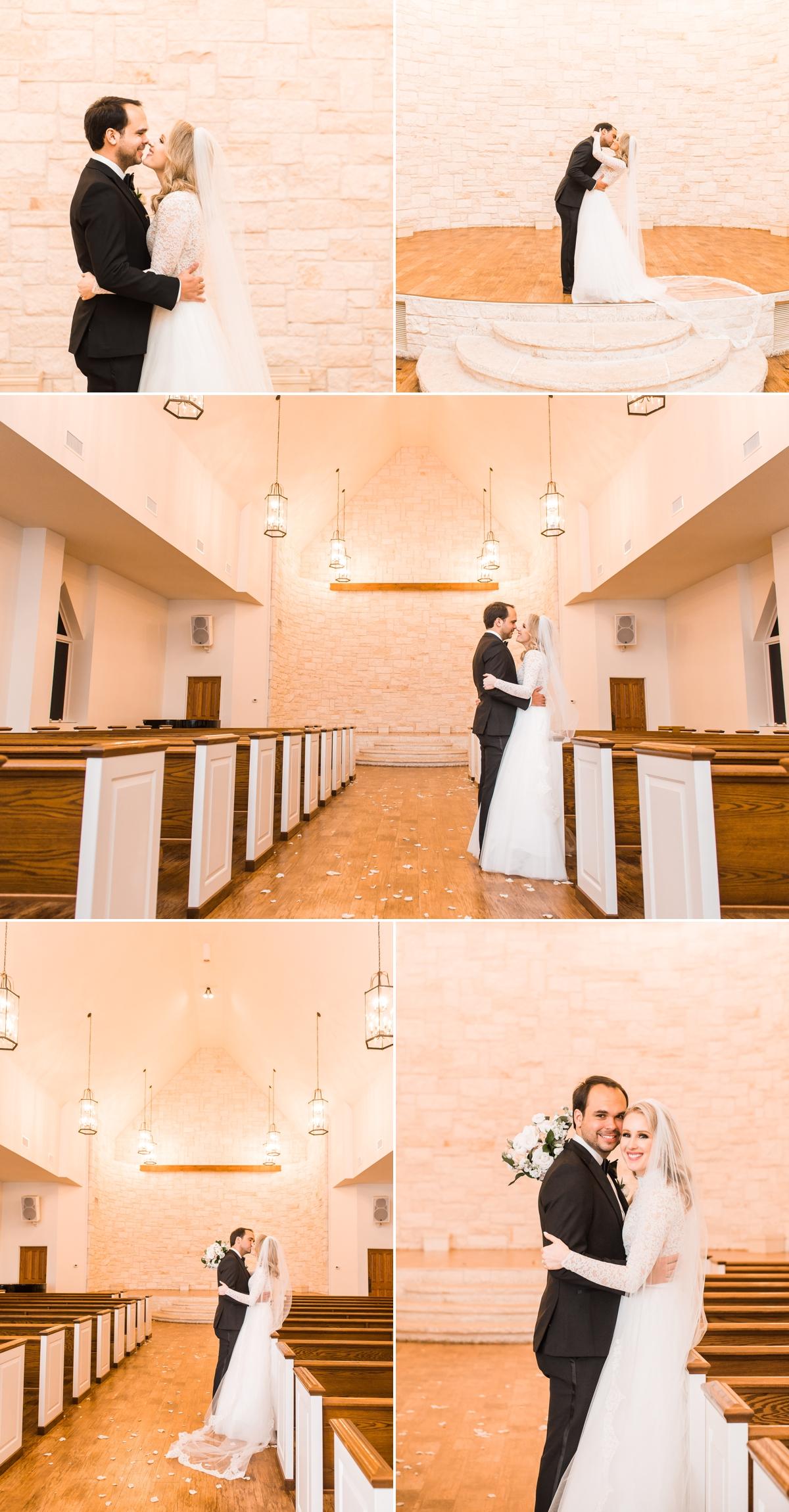Bride and Groom wedding portraits in Briscoe Manor Chapel