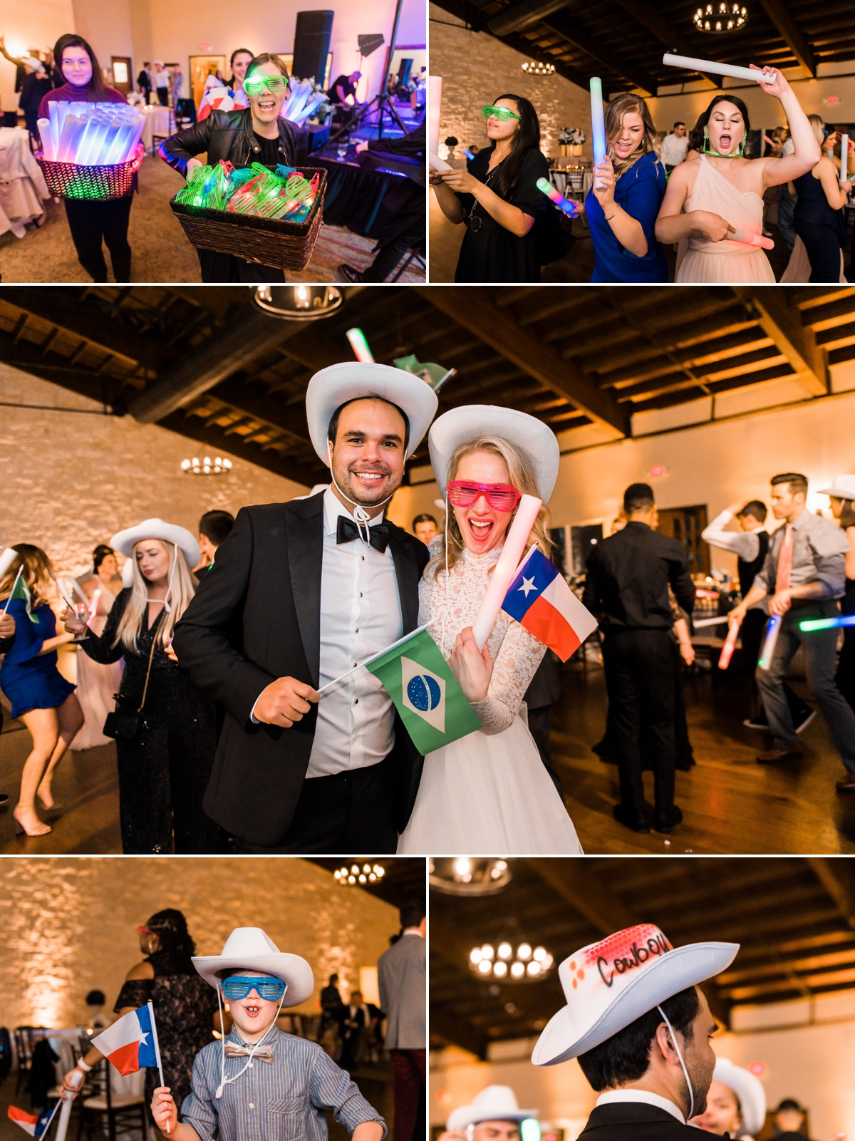 Incorporate your culture with mini flags at your wedding! This Texas meets Brazil wedding had miniature flags of Texas and Brazil along with light up glow sticks and glasses