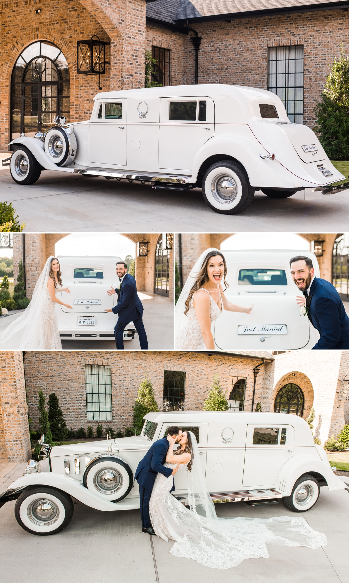 Bride and Groom with Getaway Car at Iron Manor