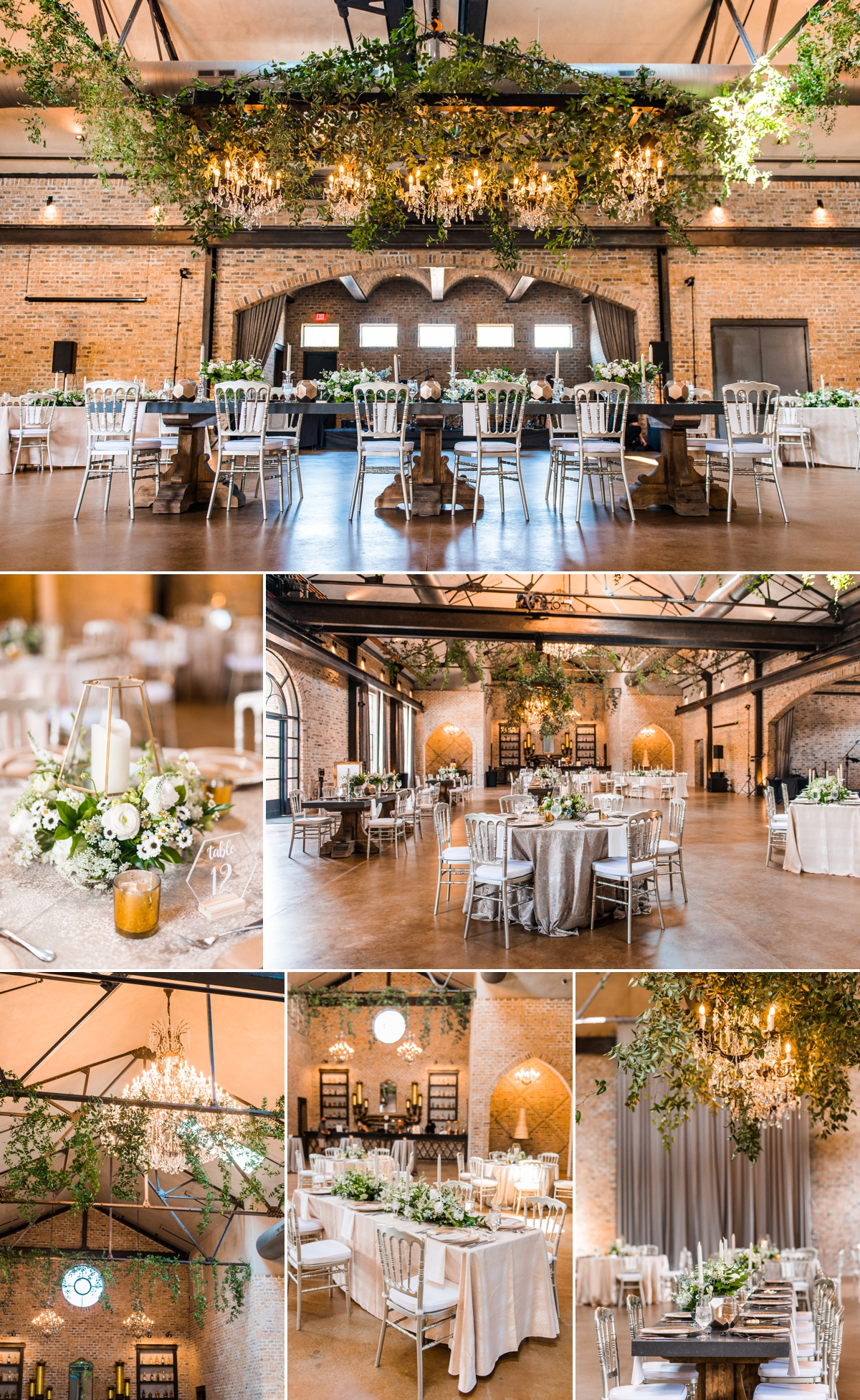 Iron Manor Wedding Reception decorated with gorgeous florals and greenery