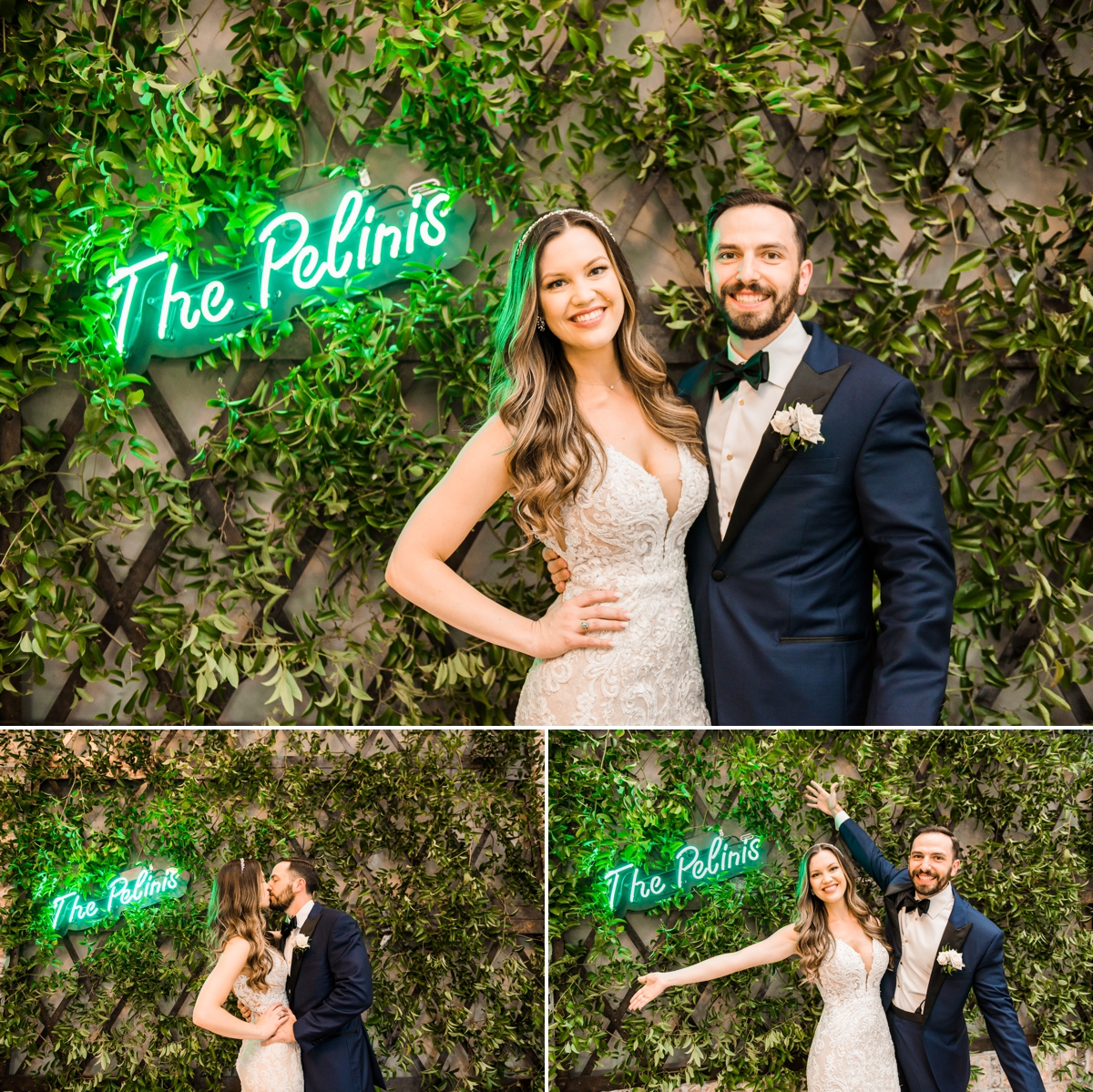 Bride and Groom in front of their custom neon sign