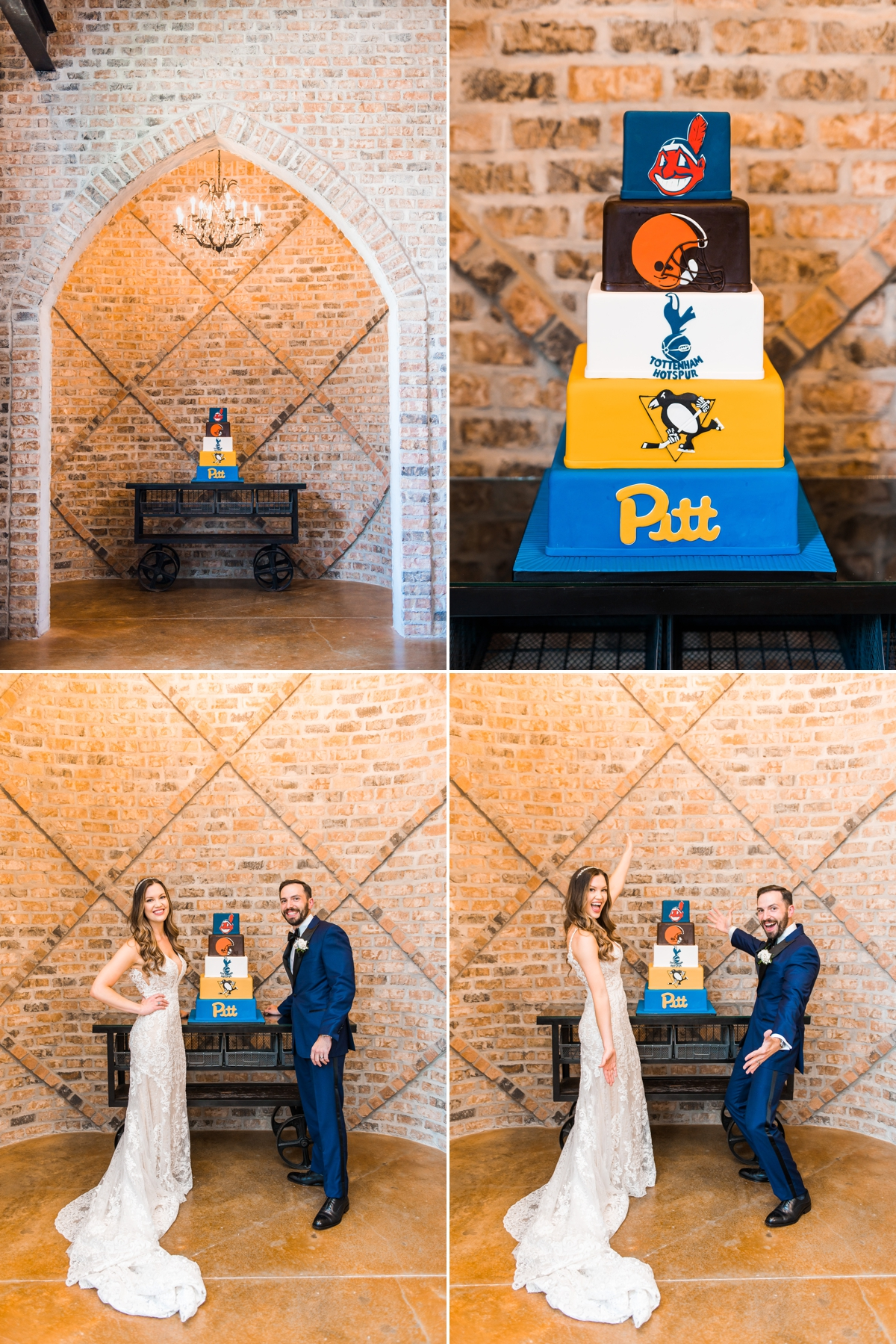 Bride and Groom with Grooms Cake featuring favorite sport teams